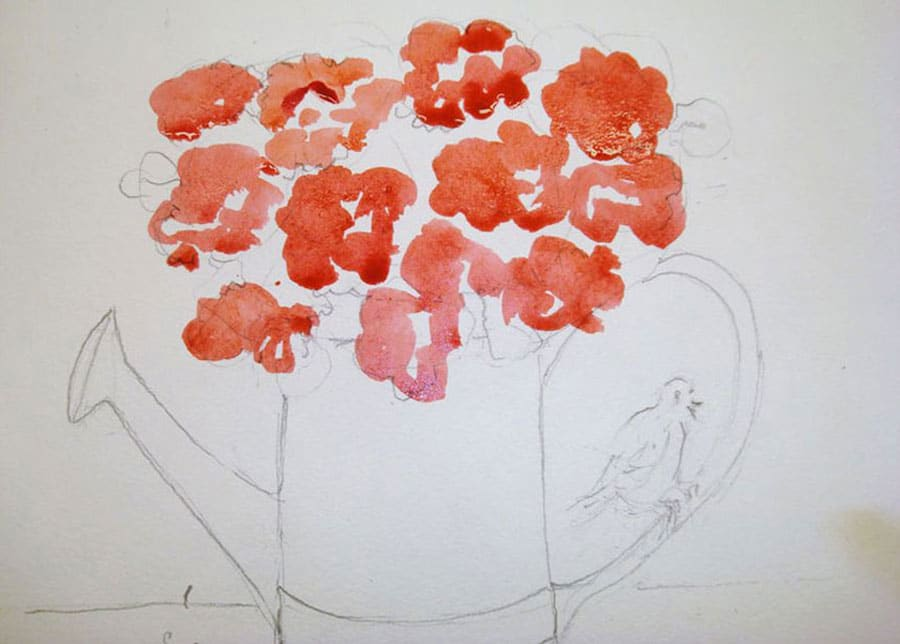 گل های رنگی نقاشی آبرنگ
