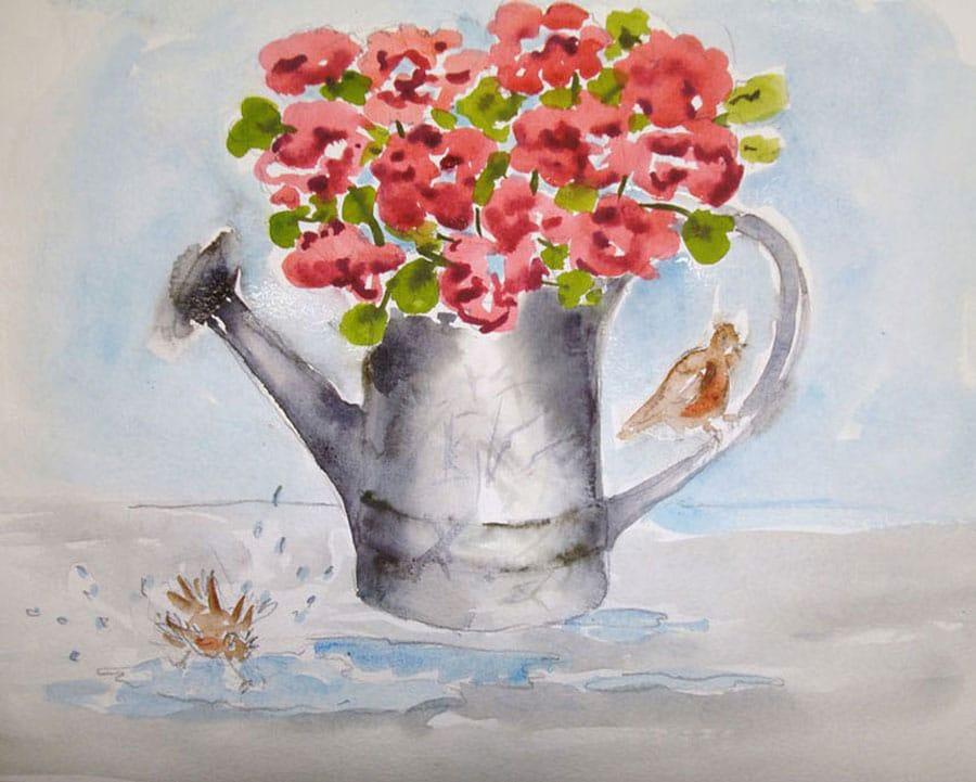 گل های بهاری نقاشی آبرنگ