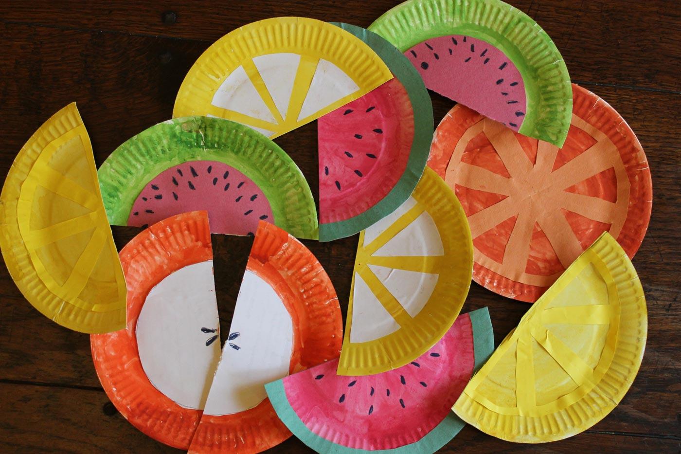 آموزش کاردستی میوه با بشقاب کاغذی