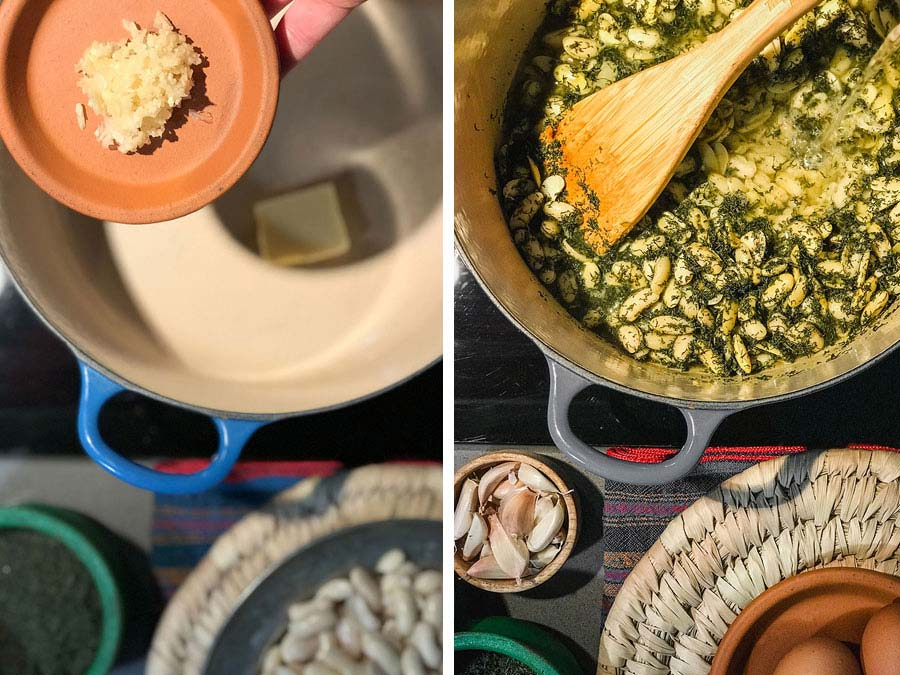 ترکیب سیر و لوبیاها برای درست کردن باقلاقاتق