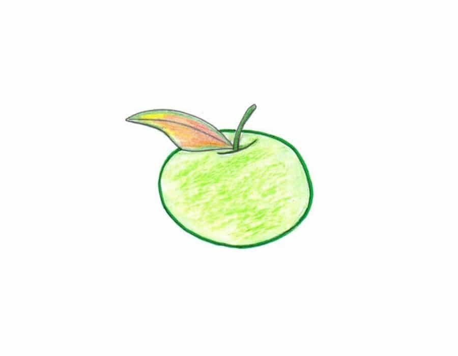 آموزش نقاشی سیب کودکانه