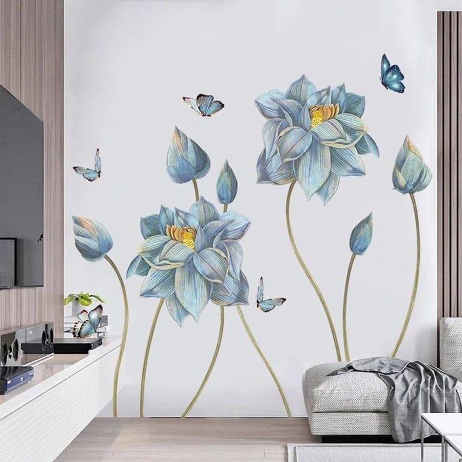 آموزش رنگ آمیزی طرح گل روی دیوار