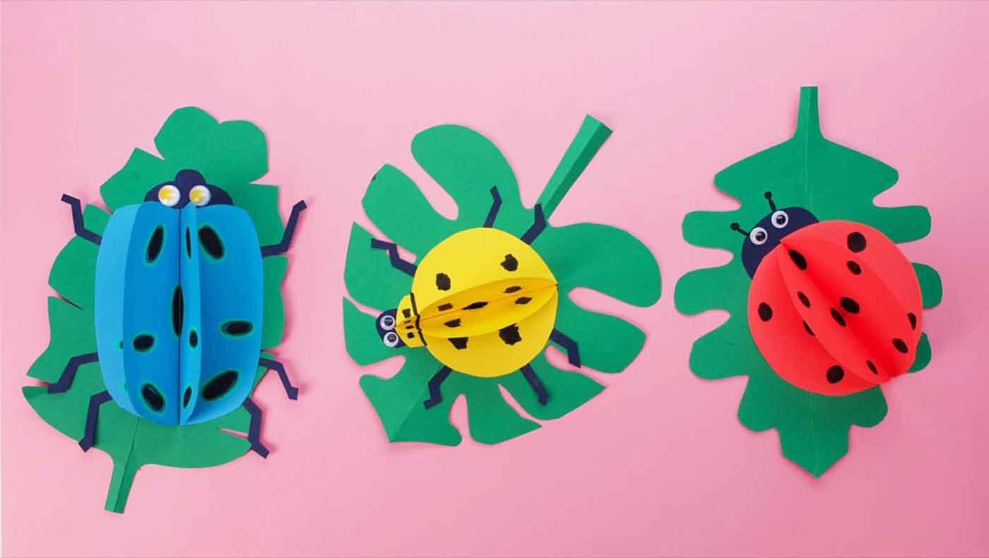 آموزش تصویر ساخت کاردستی حشرات با کاغذرنگی