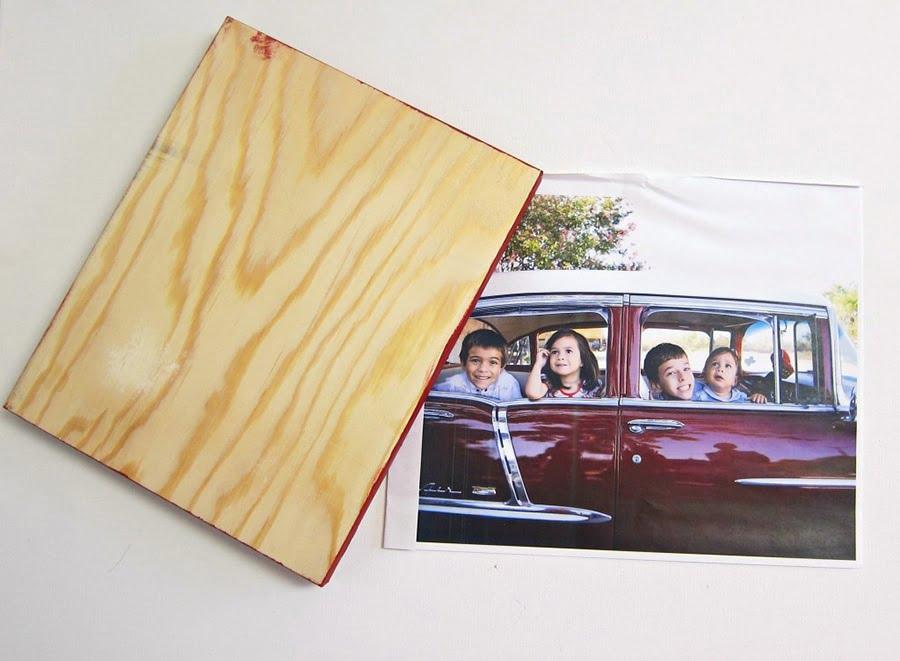 دکوپاژ عکس روی چوب