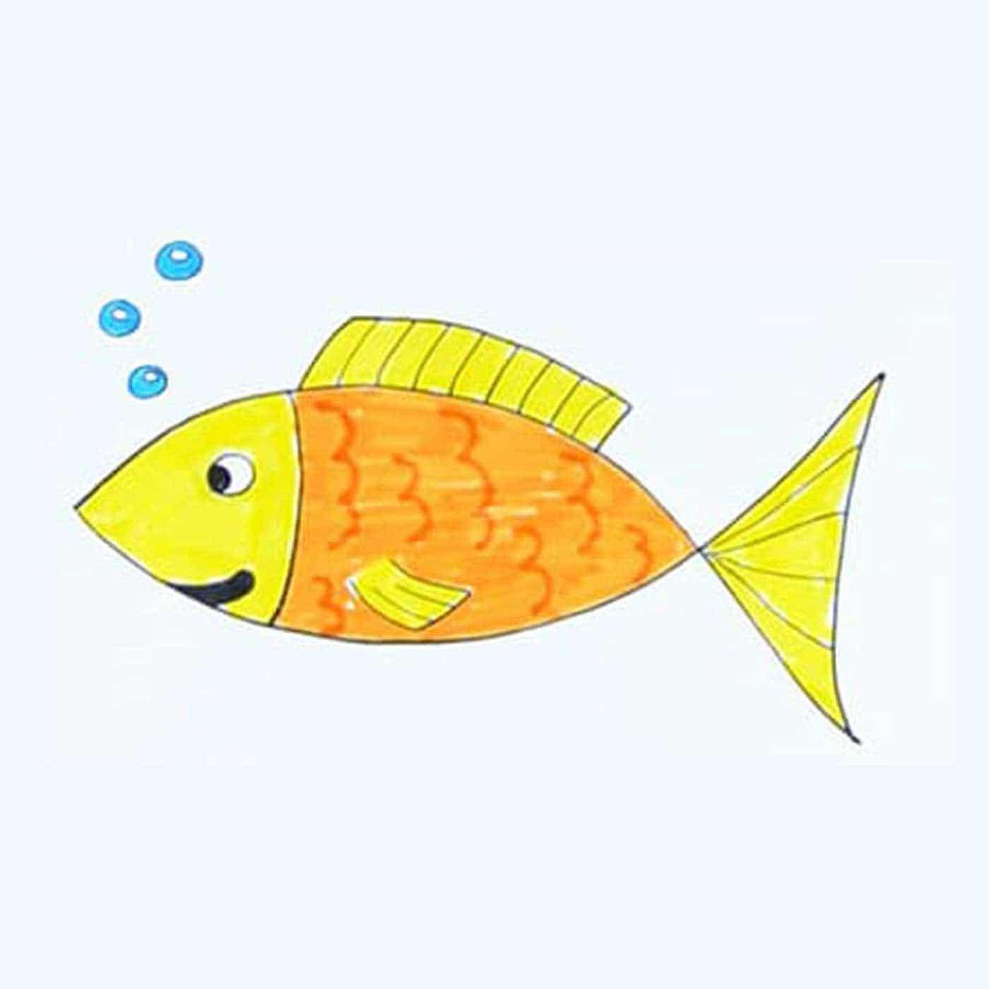 آموزش نقاشی ماهی کودکانه