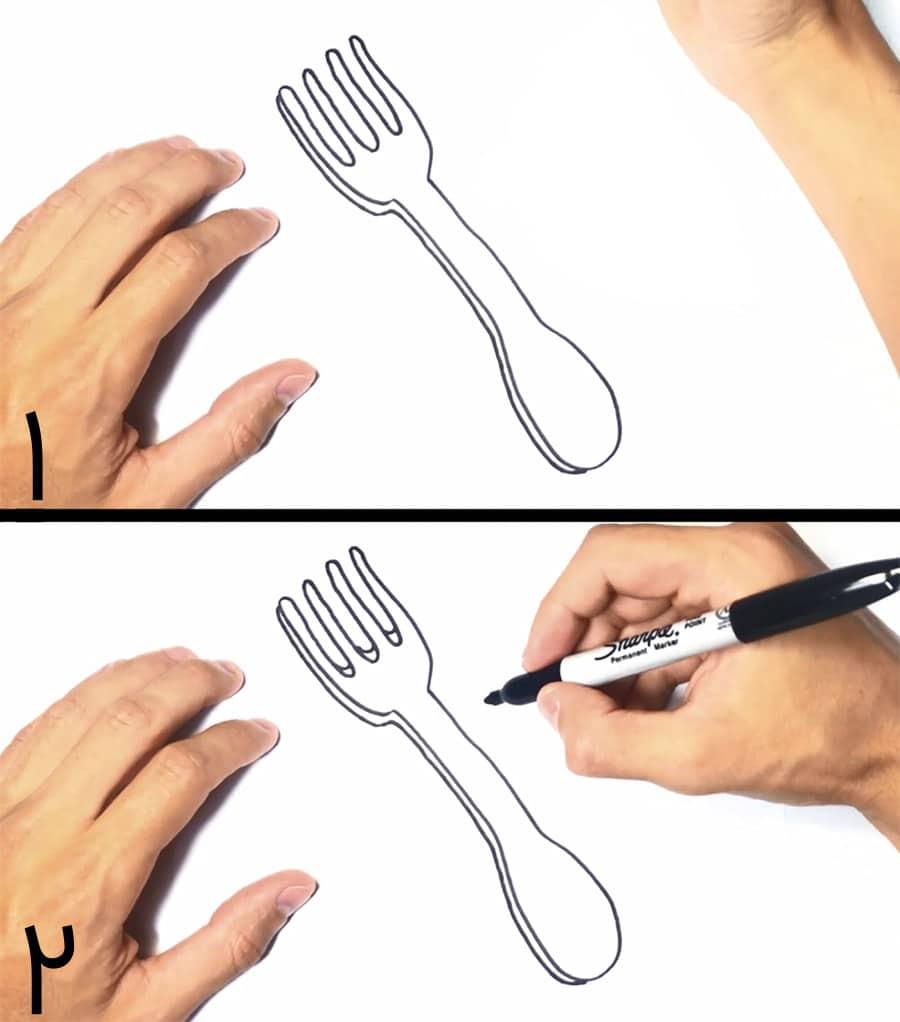 آموزش کشیدن نقاشی چنگال