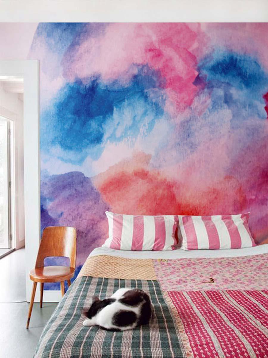 رنگ آمیزی آبرنگی روی دیوار