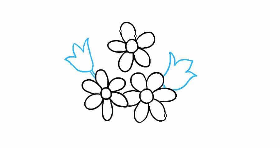 آموزش نقاشی دسته گل