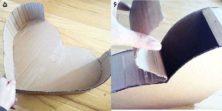 مرحله سوم کامل کردن کاردستی جعبه قلبی مدل اول