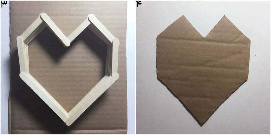 مرحله دوم، درست کردن کف کاردستی جعبه قلب مدل دوم