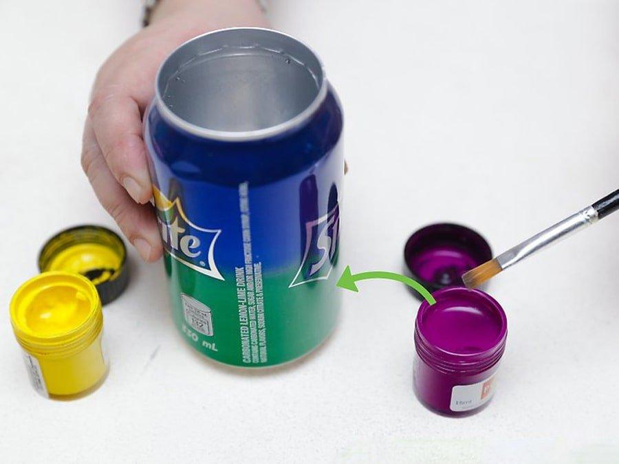 رنگ آمیزی قوطی نوشابه برای ساخت جامدادی با قوطی