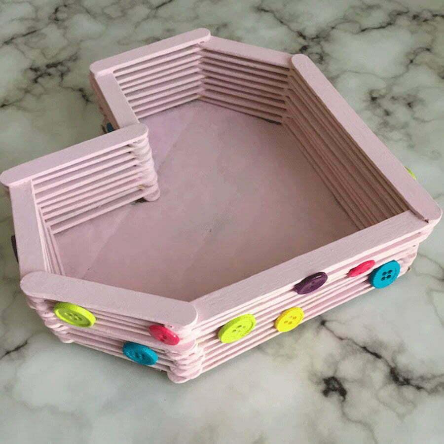 کاردستی جعبه قلبی متفاوت با چوب بستنی
