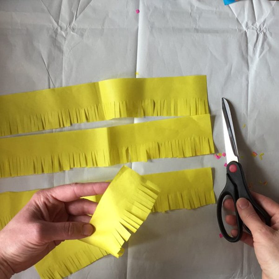 Cut Tissue Paper Fringing For Your Recycled Milk Carton Pinata Rotated Min