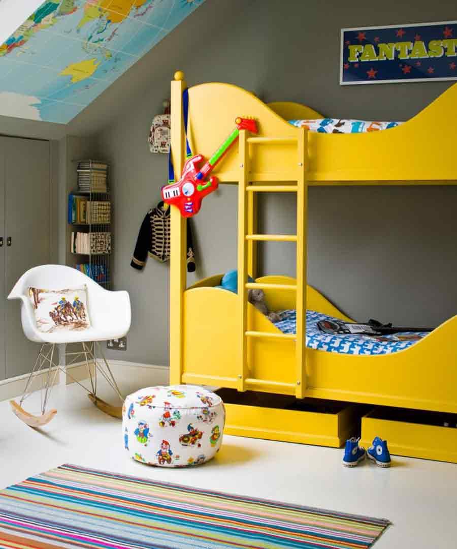 تغییر دکور اتاق پسرانه با رنگهای شاد