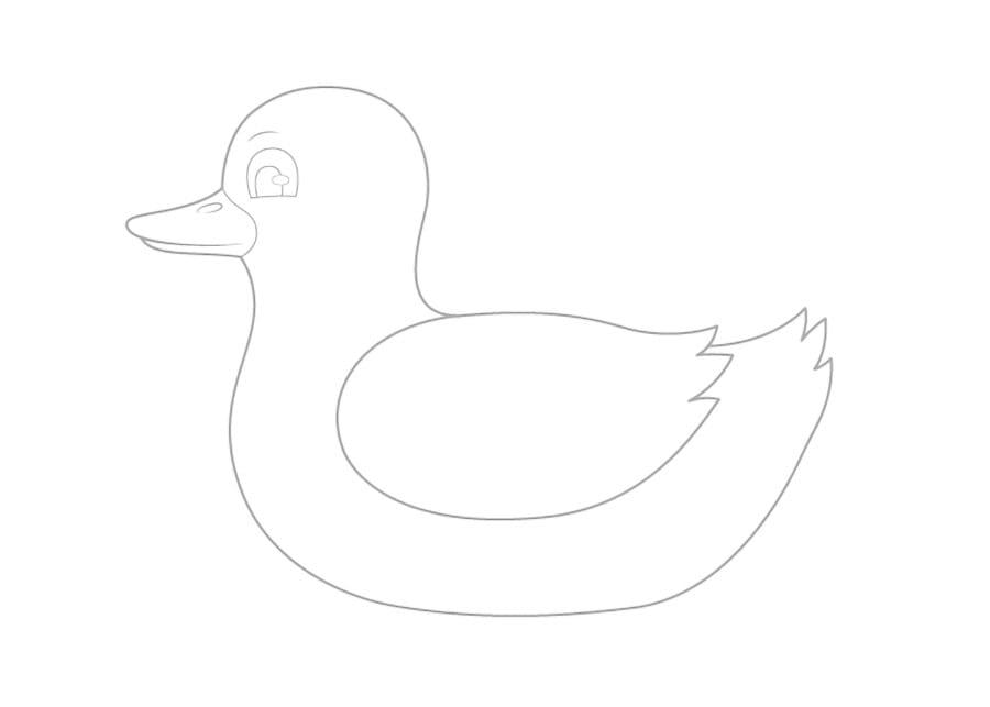 مرحله چهارم نقاشی اردک - طراحی چشم و بینی اردک