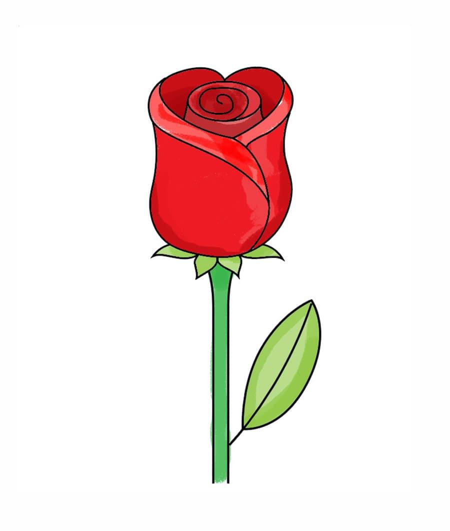 رنگآمیزی نقاشی گل رز قرمز
