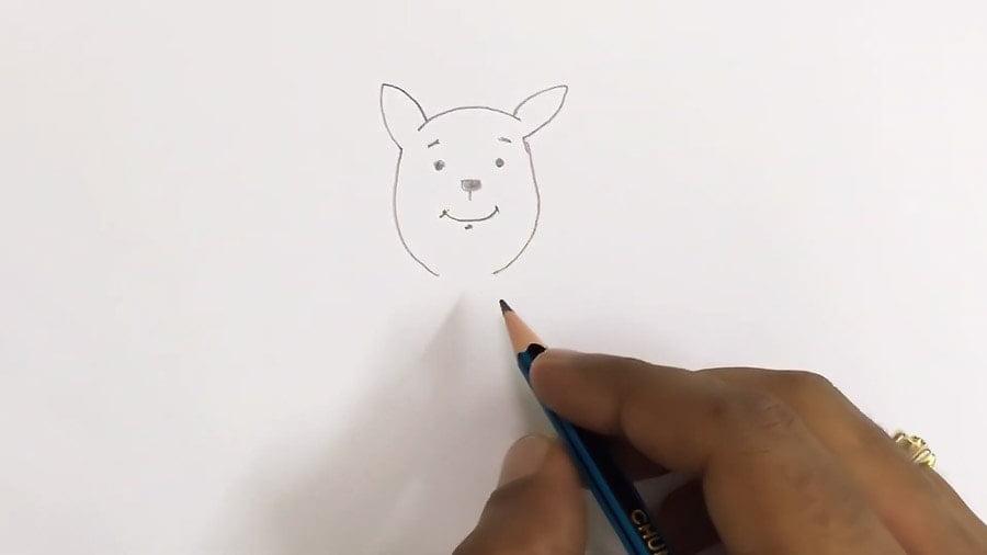 مرحله سوم نقاشی کانگورو - کشیدن اجزای صورت