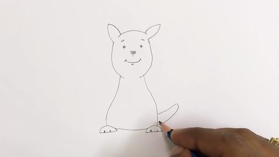 مرحله ششم نقاشی کانگورو - کشیدن دم