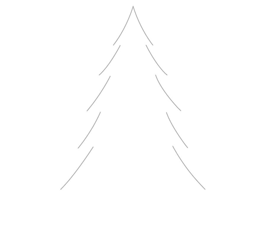 مرحله اول نقاشی درخت کاج - رسم فرم کلی درخت