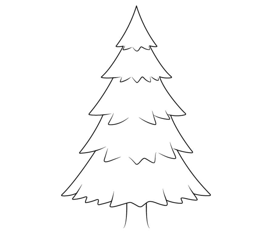 کشیدن خطوط تکمیلی نقاشی درخت کاج