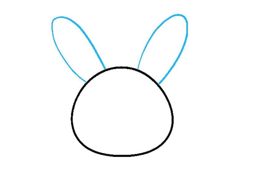 مرحله دوم نقاشی خرگوش - رسم گوشها