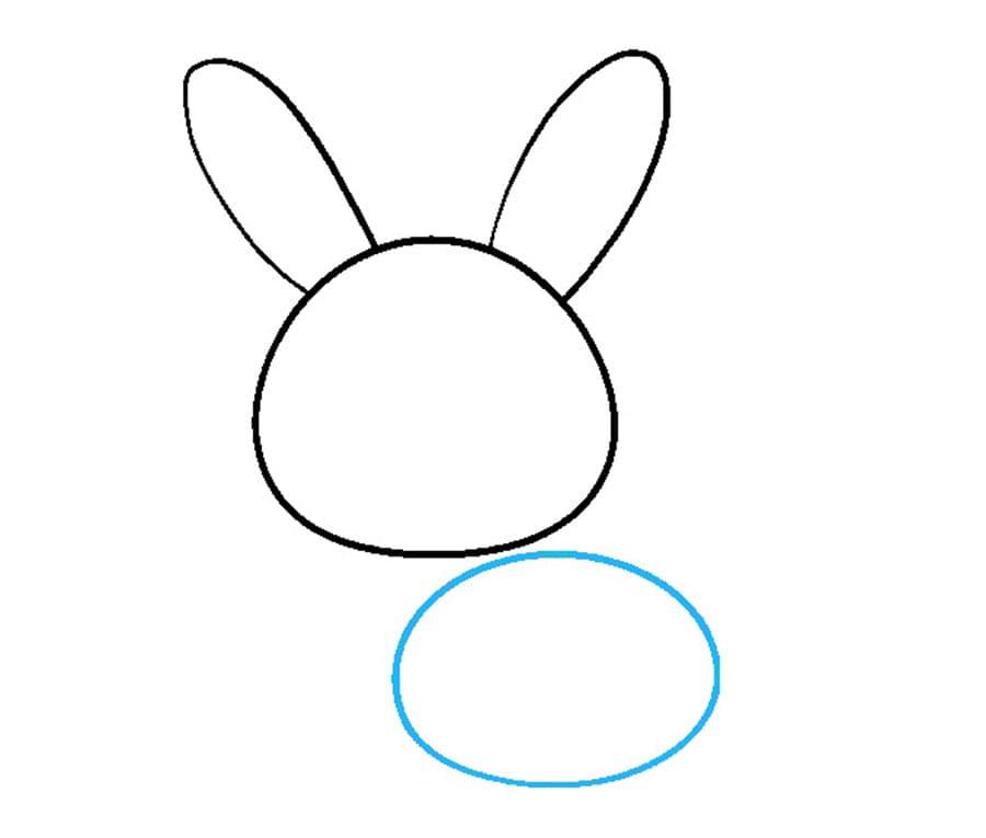مرحله سوم نقاشی خرگوش - طراحی بدن خرگوش