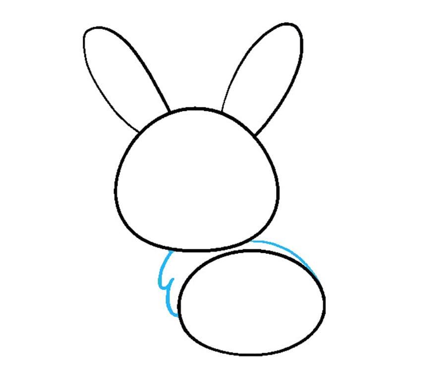 مرحله چهارم نقاشی خرگوش - اتصال سر و بدن خرگوش به هم
