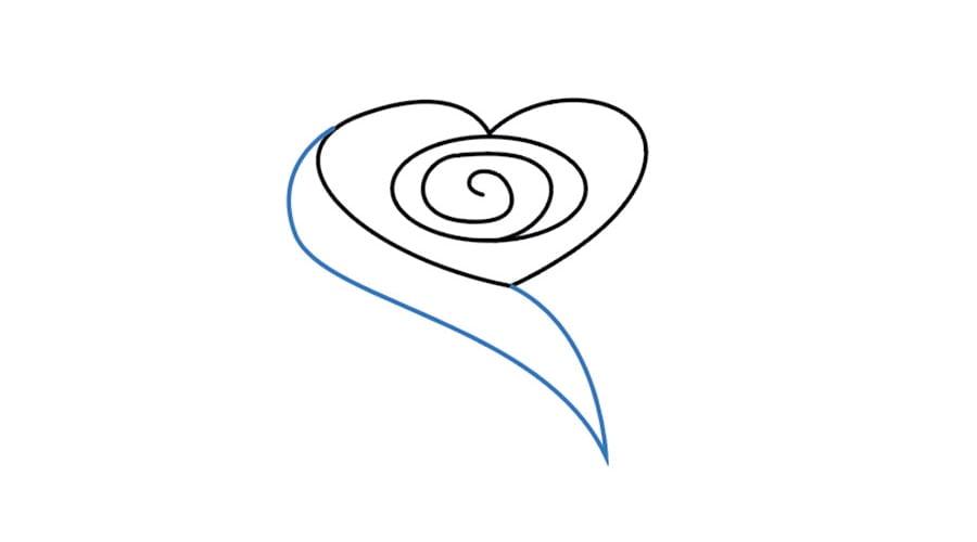 مرحله چهارم نقاشی گل رز - طراحی خط وسط گلبرگها