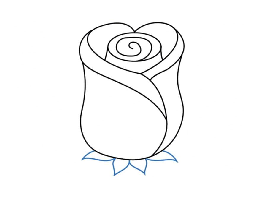 کشیدن کاسبرگهای نقاشی گل رز قرمز