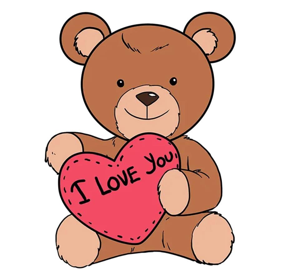 مرحله آخر آموزش نقاشی خرس قلبی