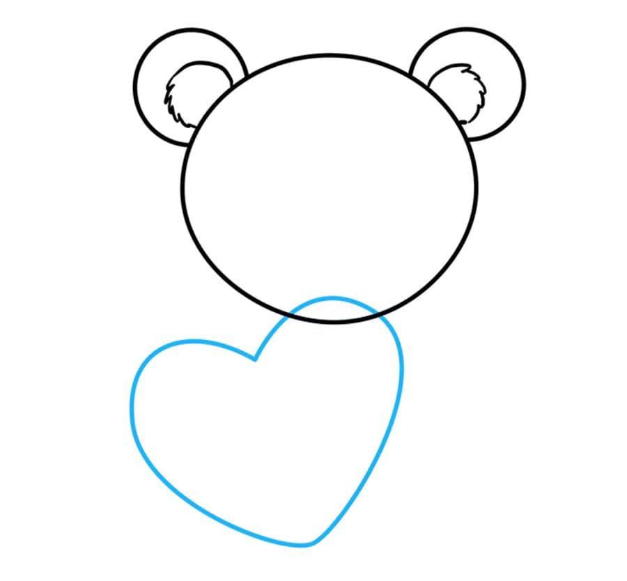 مرحله سوم آموزش نقاشی خرس قلبی