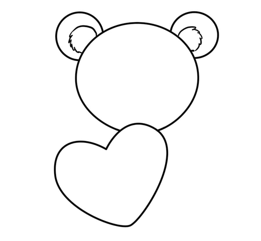 مرحله چهارم آموزش نقاشی خرس قلبی