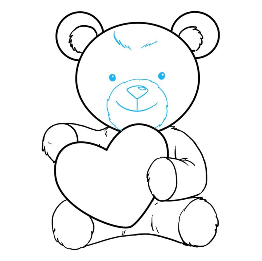 مرحله هشتم آموزش نقاشی خرس قلبی