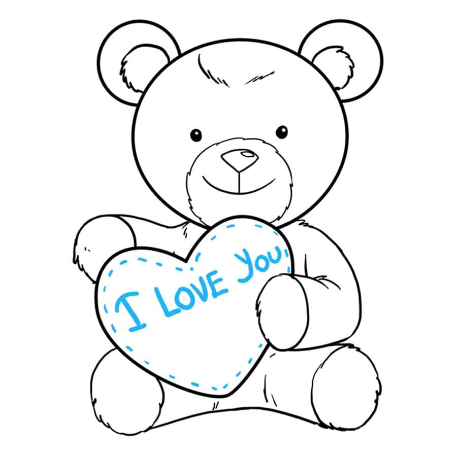 مرحله نهم آموزش نقاشی خرس قلبی