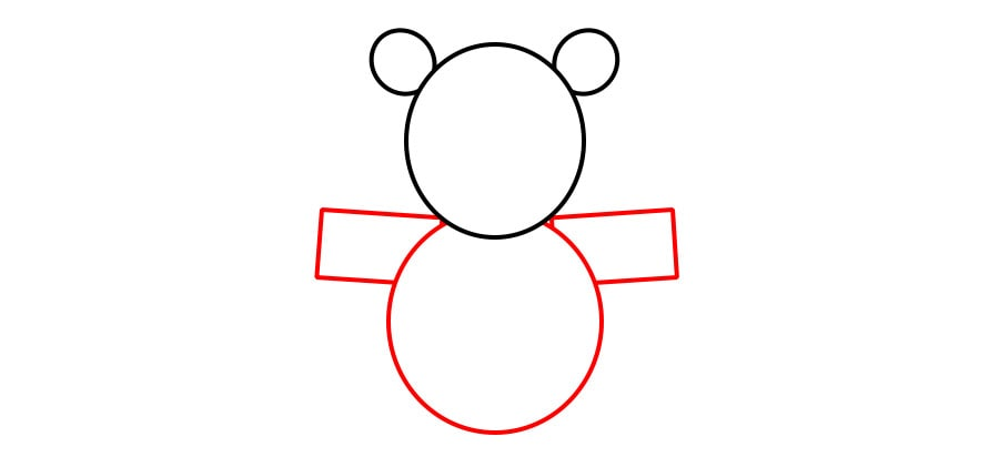 مرحله دوم نقاشی خرس نشسته
