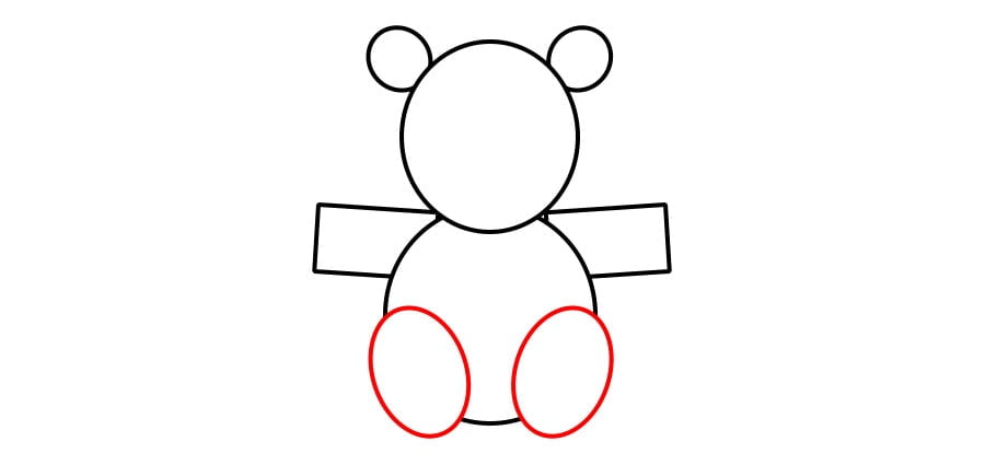 مرحله سوم نقاشی خرس نشسته