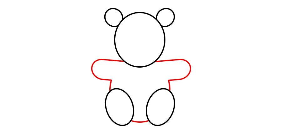 مرحله چهارم نقاشی خرس نشسته