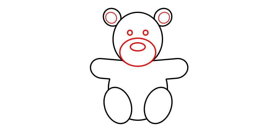 مرحله پنجم نقاشی خرس نشسته