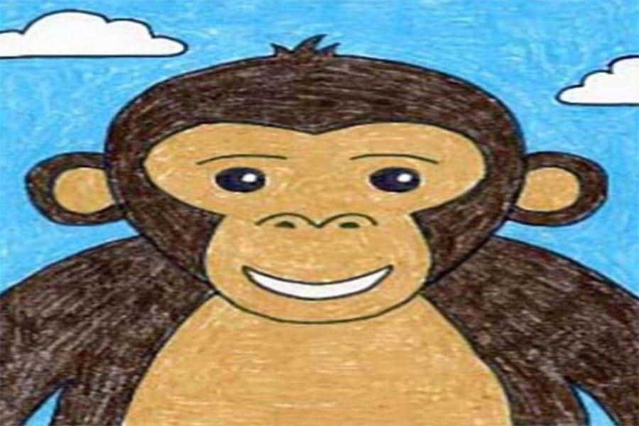 آموزش قدم به قدم نقاشی میمون