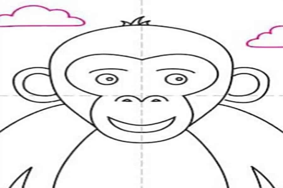آموزش نقاشی میمون به کودکان