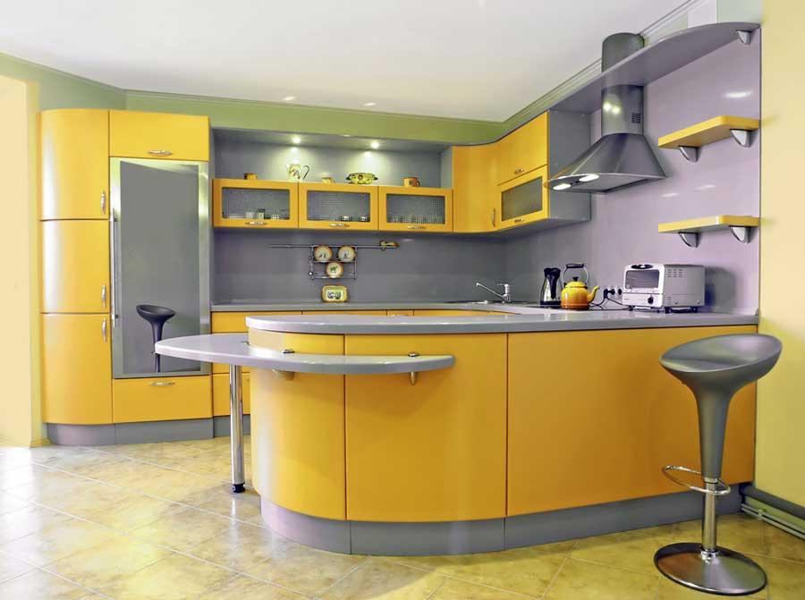 آشپزخانه طوسی و زرد